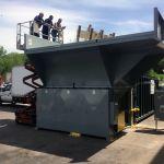 Auger-Pak™ EMD-80W, Yard Installation, Rear-Feed Flip Hopper, Forklift-Fed, Rear View