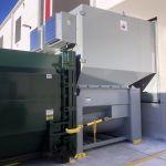 Auger-Pak™ EM-40W, Dock Plugin Installation, Rear Feed Flip Hopper, Forklift and Hand-fed, Outside View