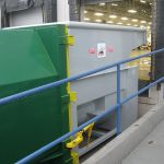 Open at the Dock Installation, Rear-Feed Hopper, Hand or Forklift-Fed, Outside View
