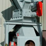 Quad-Shaft Electromechanical Shear Shredder, Auger-Pak™ EM-15G, installed outside view