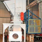 Quad-Shaft Electromechanical Shear Shredder, Auger-Pak™ EM-15G, with vertical lift cart tipper